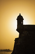 Castillo San Felipe Del Morro Framed Prints - Sentry Box at Sunset at El Morro Fortress in Old San Juan Framed Print by Bryan Mullennix