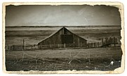 Old Barns Mixed Media Posters - Sepia Eastern Oregon Barn 1 Poster by Chalet Roome-Rigdon