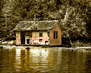 Queen Charlotte Strait Prints - Sepia Floating House Print by Robert Bales