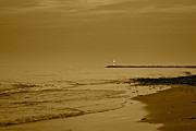 Sepia Lighthouse Print by Frozen in Time Fine Art Photography