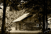 Old Greeting Cards Posters Posters - Sepia Log cabin Poster by Daniel Martin