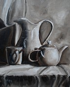 Pottery Pitcher Painting Prints - Sepia Still Life Print by Donna Tuten