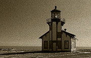Ocean Shore Pastels Prints - Sepia/Textured Point Cabrillo Lighthouse Print by Jacqueline Barden