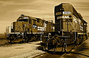 Caboose Prints - Sepia Trains Print by Robert Harmon