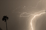 Lightening Prints - Sepia Tropical Thunderstorm Night  Print by James Bo Insogna