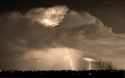 Lightning Storms Photo Prints - SepiaThunderstorm Boulder County Colorado   Print by James Bo Insogna