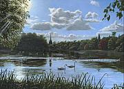 Swans... Painting Posters - September Afternoon in Clumber Park Poster by Richard Harpum