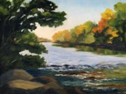 Western Usa Painting Posters - September on the Platte River Poster by Julia Grundmeier