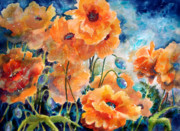 Dark Blue Green Posters - September Orange Poppies            Poster by Kathy Braud