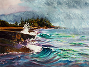 Impressionistic Landscape Painting Posters - September Storm Lake Superior Poster by Kathy Braud