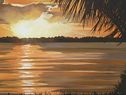 Miami Skyline Painting Originals - September Sunset 7 32pm Haulover Park by Lori Royce