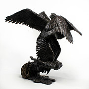 Fire Sculpture Prints - Seraph Angel a religious bronze sculpture by Adam Long Print by Adam Long