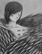 Seraphim Angel Drawings Prints - Seraphim Print by Rachel Hayes