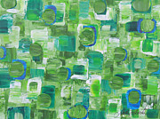 Modern Acrylic Paintings - Serene Green by Molly Roberts