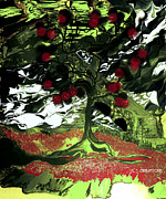 Tree Roots Digital Art Prints - Serene in Green Print by Jan Steadman-Jackson