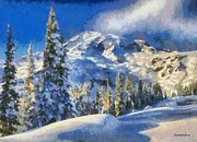 Snow Covered Pine Trees Paintings - Serene Winter Snow by Elizabeth Coats