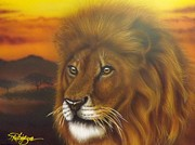 Wild Cats Paintings - Serengeti King by Darren Robinson
