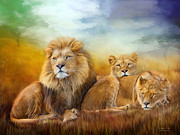 Wild Animal Mixed Media Posters - Serengeti Pride Poster by Carol Cavalaris