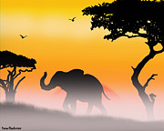 Elephant Digital Art Posters - Serengeti Sunrise Poster by Peter Stevenson