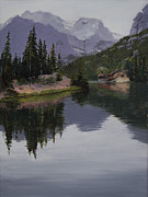Glacier National Park Paintings - Serenity by Mary Giacomini