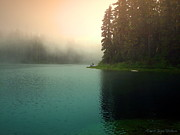 Joyce Dickens Metal Prints - Serenity On Blue Lake Foggy Afternoon Metal Print by Joyce Dickens