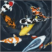 Koi Painting Posters - Serenity Pond Poster by Linda Peterson