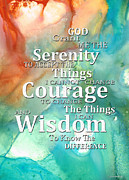 Courage Mixed Media Metal Prints - Serenity Prayer 1 - By Sharon Cummings Metal Print by Sharon Cummings