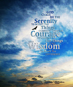 Motivational Mixed Media Prints - Serenity Prayer 3 - By Sharon Cummings Print by Sharon Cummings
