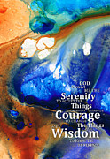 Motivational Mixed Media Prints - Serenity Prayer 4 - By Sharon Cummings Print by Sharon Cummings