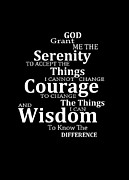Motivational Art Mixed Media Prints - Serenity Prayer 5 - Simple Black And White Print by Sharon Cummings