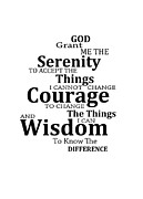 Courage Metal Prints - Serenity Prayer 6 - Simple Black And White Metal Print by Sharon Cummings