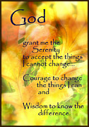 Religious Art Mixed Media Prints - Serenity Prayer in Golden Leaves Print by Ella Kaye