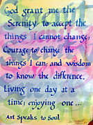 Serenity Prayer Paintings - Serenity Prayer by Jane  Halliwell Green