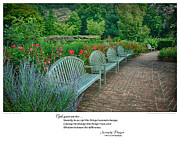 Serenity Prayer Print. Framed Prints - Serenity Prayer Print -- Benches at Brookside Gardens Framed Print by Spirit Greetings