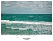 Serenity Prayer Print. Framed Prints - Serenity Prayer Print -- Crashing Waves at Hilton Head Framed Print by Spirit Greetings
