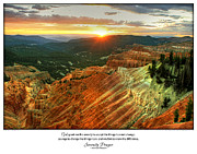 Serenity Prayer Print. Framed Prints - Serenity Prayer Print -- Sunset at Cedar Breaks National Park Framed Print by Spirit Greetings
