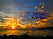 Strength Photo Posters - Serenity Prayer Sunset By Sharon Cummings Poster by Sharon Cummings