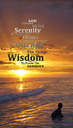 Courage Metal Prints - Serenity Prayer With Sunset By Sharon Cummings Metal Print by Sharon Cummings