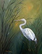 Egrets Paintings - Serenity by Suzanne Theis
