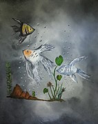 Fish Underwater Paintings - Serenity by Valorie Cross