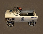 Vintage Police Vehicle Posters - Sergeant Pedal Car Poster by Michelle Calkins