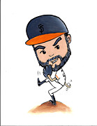 2012 World Series Champions Acrylic Prints - Sergio Romo Cartoon Acrylic Print by Angela  Villegas