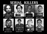 Fbi Framed Prints - Serial Killers - Public Enemies Framed Print by Paul Ward