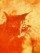 Abstract Cat Prints - Serious Mister Slim Print by Ann Powell