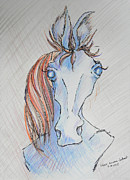 Skewed Mixed Media Prints - Seriously Funky Horse Print by Sheri Lauren Schmidt