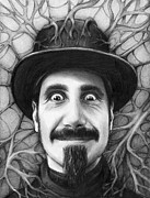 Celebrities Drawings Framed Prints - Serj Tankian Framed Print by Olga Shvartsur