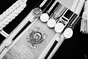 Medals Posters - Service Medals On Sash Of Dress Uniform 152 Transport Regiment Uk Poster by Joe Fox