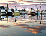 Boat Reflection Framed Prints - Sesuit Harbor Pastel Reflections Framed Print by Carl Jacobs