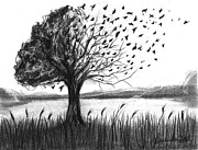 Landscapes Drawings - Set Free by J Ferwerda