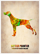 Pets Art Digital Art Metal Prints - Setter Pointer Poster Metal Print by Irina  March